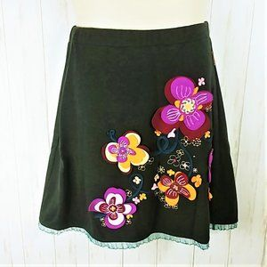 MAMATAYOE Gray Floral Felt Embellished Skirt SZ L